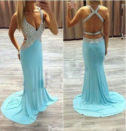 light blue prom dress, long prom dress, beaded prom dress, sexy evening dress, open back prom dress, BD407