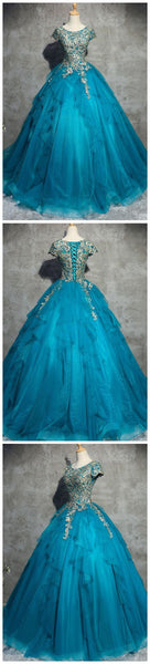 applique long prom dress scoop short sleeve ball gowns evening dress wedding dress,HS247