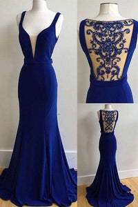 dark blue prom dress, long prom dress, mermaid prom dress, see through back prom dress, evening dress 2017, BD482