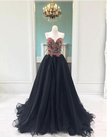 2018 charming black tulle sweetheart A-line long prom dress, PD3322