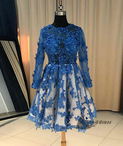 blue lace short homecoming dress long sleeve flowers short prom dress,HS359