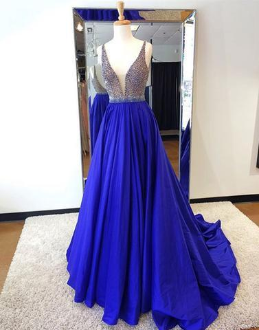 v-neck royal blue beaded long prom dress, PD6545