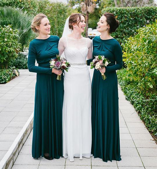 modest long dark teal chiffon long sleeves cheap Bridesmaid dress, BD9720