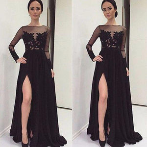black prom dress, long prom dress, side slit prom dress, lace prom dress, long sleeves evening dress, BD519