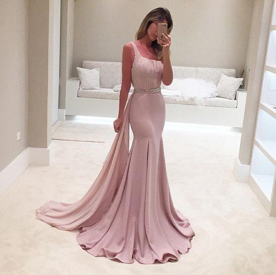 cheap blush pink long prom dress backless sleeveless formal mermaid evening dress,HS292