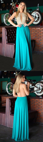 cheap long prom dress a-line blue chiffon scoop tulle with beading evening dress,HS203