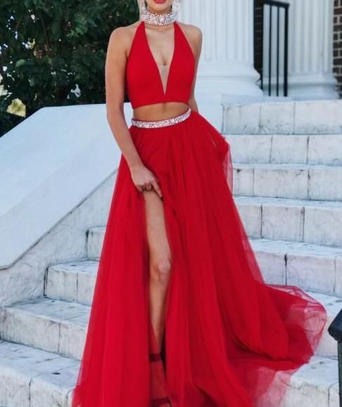 2018 2 pieces a-line prom dress high neck red beading tulle long evening dress