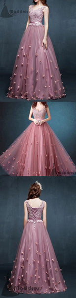 chic flowers long prom dress v-neck applique a-line sleeveless evening dress,HS350