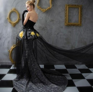 chic long prom dress lace mermaid strapless black evening dress ball gowns,HS275