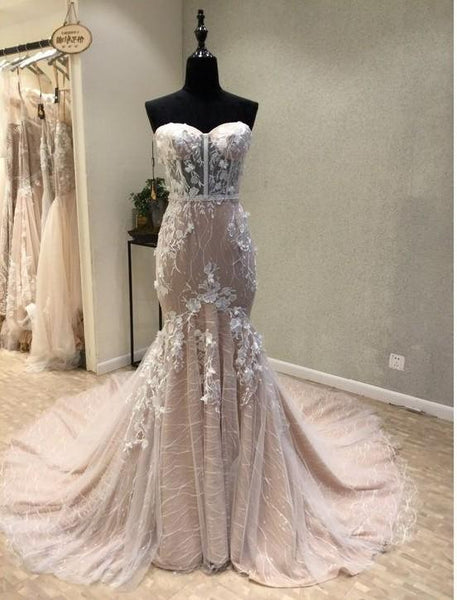 chic mermaid long prom dress sweetheart applique wedding dress evening dress,HS288