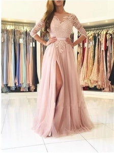 chic pink long prom dress a-line applique long sleeve evening dress with high slit,HS287