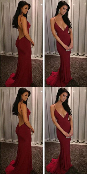deep v-neck backless mermaid prom dress spaghetti simple evening dress,HS181