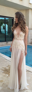 deep v-neck long prom dress applique sleeveless evening dress with high slit,HS268
