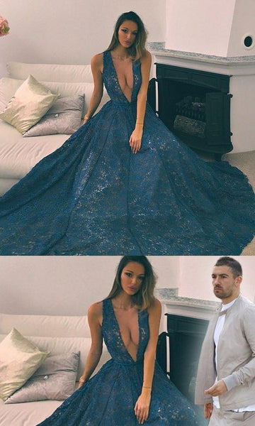 deep v-neck long prom dress lace sleeveless a-line evening dress,HS219