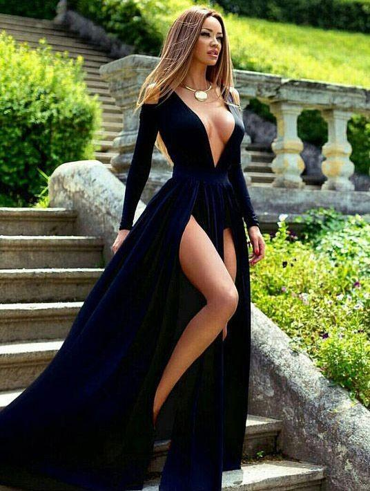 72f8bb550 deep v-neck long prom dress sexy long sleeve evening dress with high slit  front ...