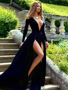 deep v-neck long prom dress sexy long sleeve evening dress with high slit front,HS274
