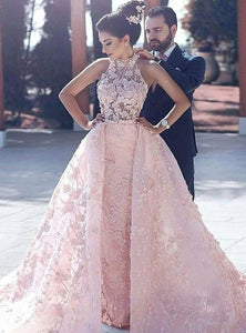 dreamy pink prom gowns, chic key hole back evening dresses, halter appliques wedding dresses,HS248