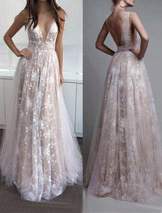 lace long v-neck 2018 prom dress, BD490