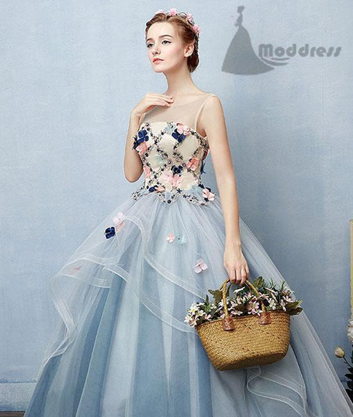 elegant applique long prom dress blue scoop ball gowns evening dress,HS339