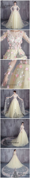 elegant flowers wedding dress long sleeve tulle long prom dress with train evening dress,HS354