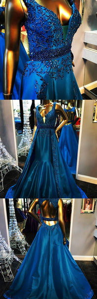 gorgeous royal blue beading ball gown backless evening prom dress,HS129