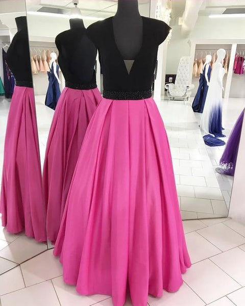 gorgeous v-neck prom dress pink cap sleeve a-line satin long prom dress,HS239