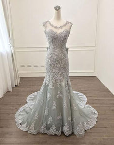 round neck light grey lace mermaid long prom dress, BD6451