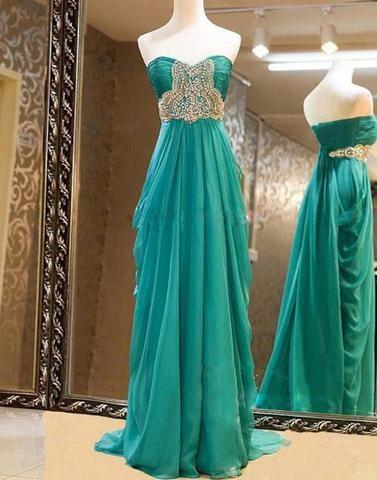 Gorgeous Sweetheart Sweep Train Beaded Prom Dresses, Evening Dresses, Formal Dresses