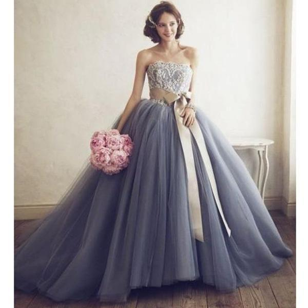 2018 grey strapless wedding dress applique prom dress tulle ball bridal gowns,HS081