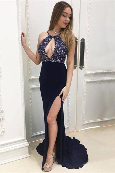halter long prom dresses unique keyhole mermaid beading evening dresses with high slit