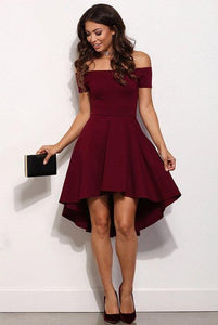 high-low prom dress a-line cocktail dress off the shoulder satin homecoming dress,HS294