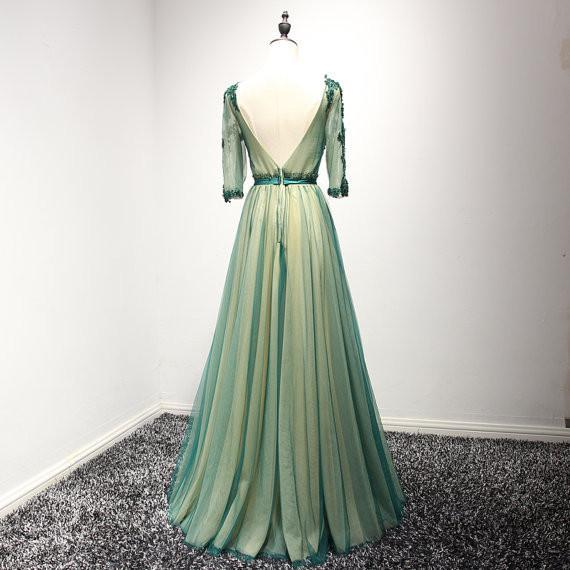 green prom dress, long prom dress, tulle prom dress, mid-length prom dress, cheap prom dress, BD391