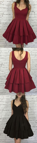 Simple burgundy v neck short prom dress,homecoming dress,HS062