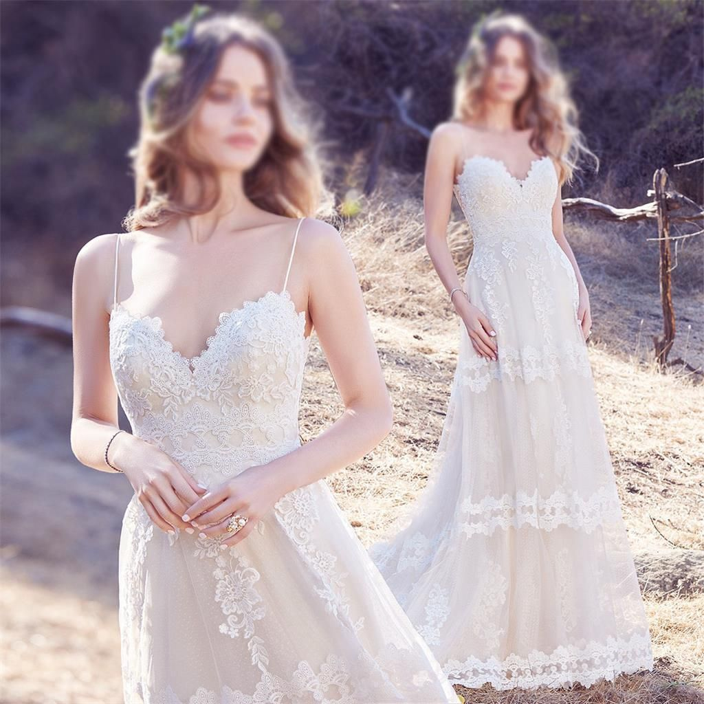 lace beach wedding dress spaghetti straps a-line bridal gowns,long prom dress,HS277