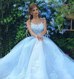 light blue wedding dress lace applique sleeveless a-line prom dress,HS229