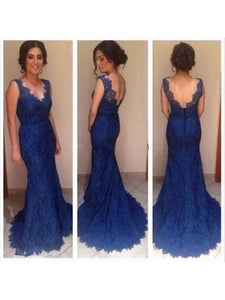 blue prom dress,lace prom dress, mermaid prom dress, charming evening gown 2018, BD112