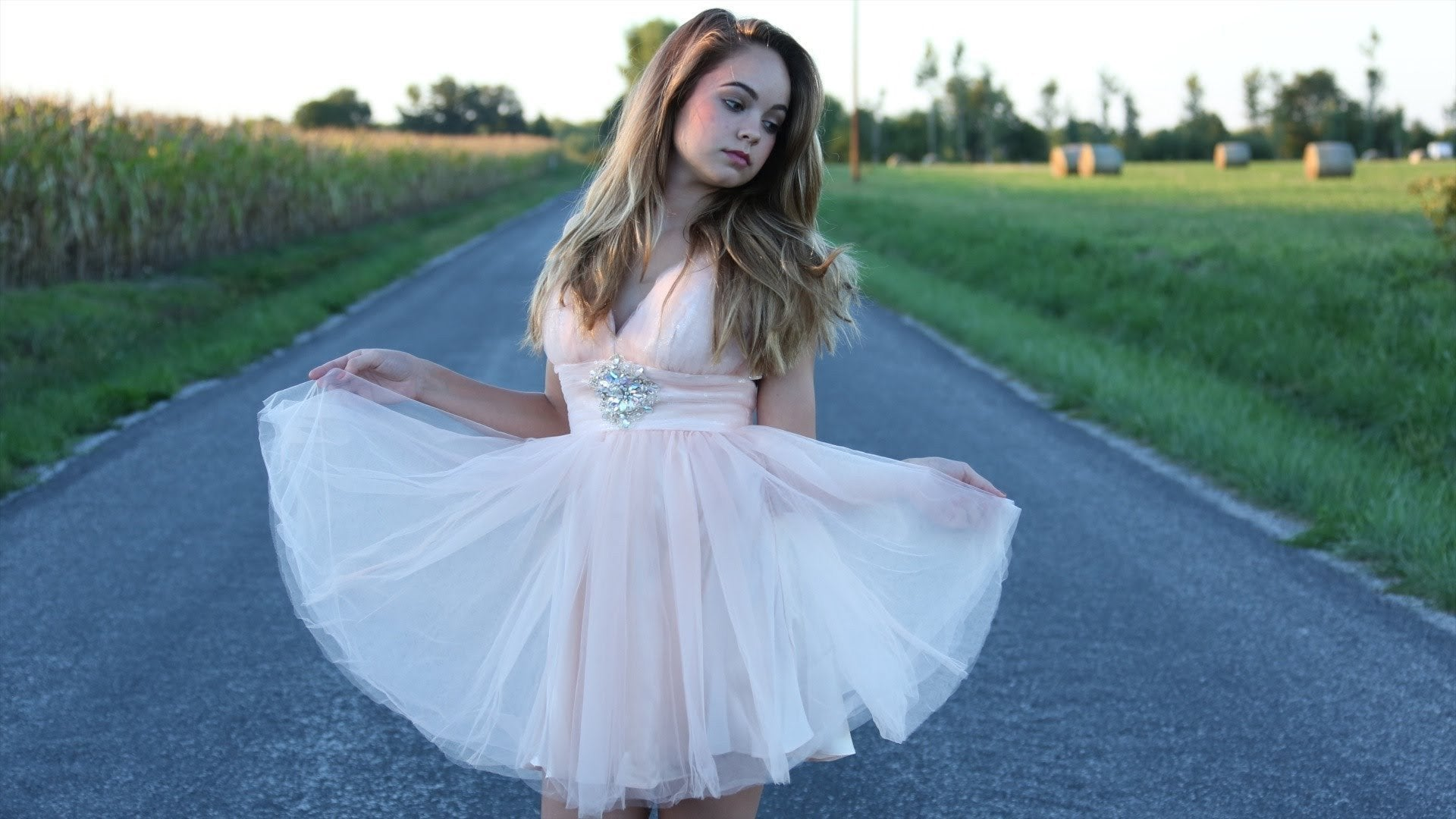light pink tulle v-neck cheap 2018 homecoming dress for girls, BD3783