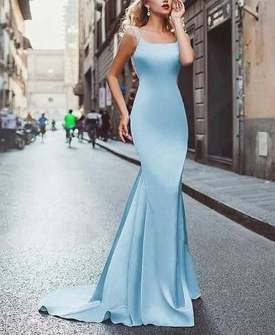 2018 mermaid long prom dress backless sleeveless satin evening dress,HS235