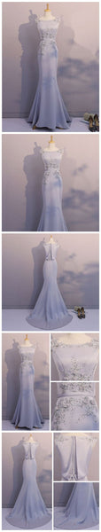mermaid long prom dress satin beaded silver grey formal evening dress,HS297