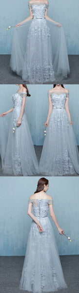 vintage off the shoulder prom dress beading applique a-line lace back up prom dress,HS122