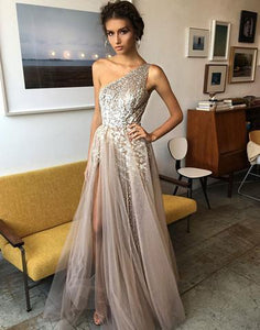 8592f217af1f Stylish one shoulder tulle sequins long prom dress, high slit evening dress  sleeveless prom gown