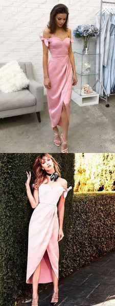 2018 pink a-line prom dress off the shoulder cute cocktail dress evening dress,HS086