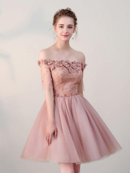 2018 charming pink homecoming dress applique beaded bridesmaid dress off the shoulder knee length prom dress,HS088