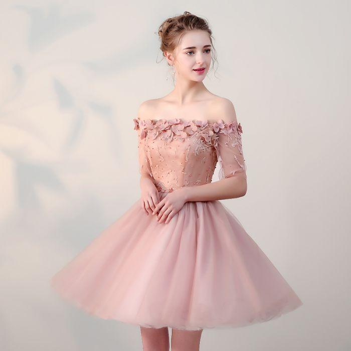 ... 2018 charming pink homecoming dress applique beaded bridesmaid dress off  the shoulder knee length prom dress ... b5f3a88b0