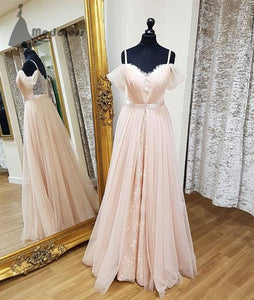 pink lace long prom dress chiffon sweetheart a-line evening dresses,HS338