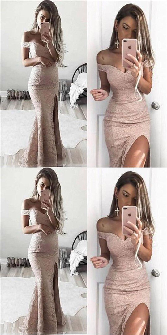 pink lace prom dress mermaid high slit evening dress off the shoulder cocktail dress,HS057