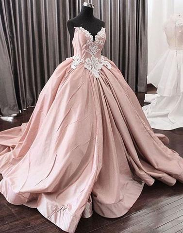 2018 A-line strapless dusty pink long prom dress, PD1373