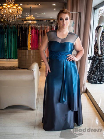 mother of bride plus size long prom dress sleeveless satin a-line evening dress,HS347
