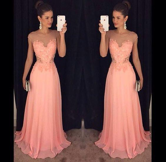 peach lace appliques scoop chiffon long 2018 elegant formal prom dress, PD3014