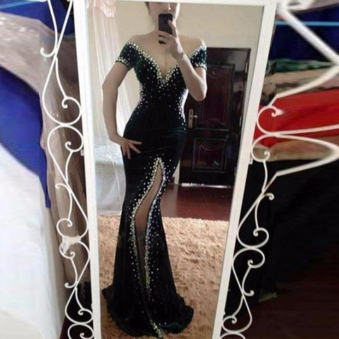 sparkle black off shoulder mermaid side slit formal long beaded prom dress, PD814